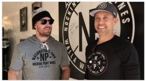 Actor Stephen Amell and his business-partner Andrew Harding at Nocking Point Wines