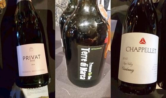Alta Alella Privat Brut Nature Rose, Corvezzo Terre di Marca Organic Prosecco, and Chappellet Chardonnay wines