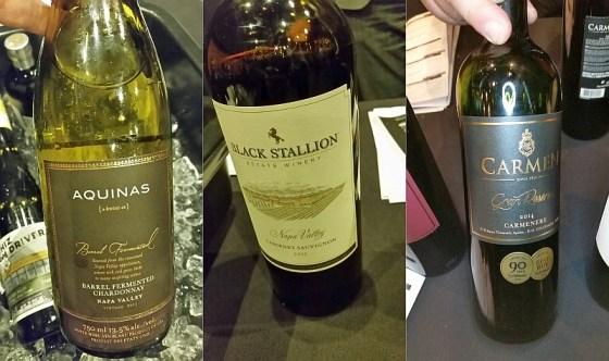 Aquinas Chardonnay, Black Stallion Estate Cabernet Sauvignon, and Vina Carmen Gran Reserva Carmenere