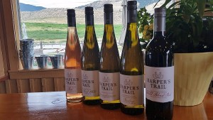 A flight of Harper's Trail wines in the tasting room