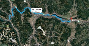 Lillooet to Kamloops (image courtesy Google)