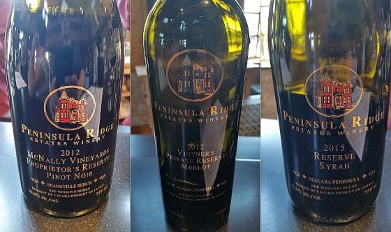 Peninsula Ridge Estates Winery flight of red wines
