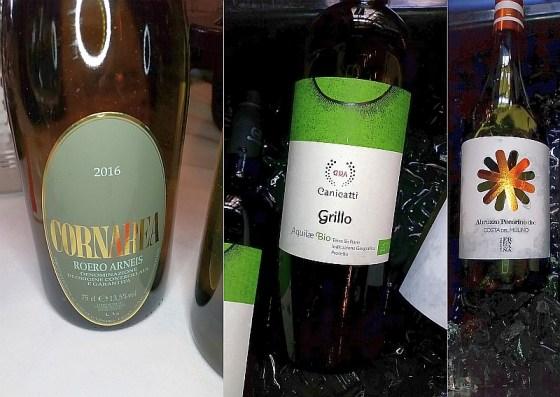 Cornarea Roero Arneis, Canicatti Grillo, and Cantina Frentana Abruzzo Pecorino Costa del Mulino wines