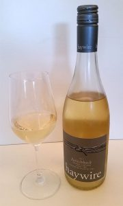 Haywire Switchback Organic Vineyard Pinot Gris 2015 with wine in glass