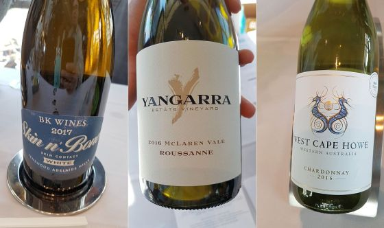 BK Wines Skin N Bones White Adelaide Hills Savagnin, Yangarra Estate Vineyard Estate McLaren Vale Roussanne, and West Cape Howe Wines Cape to Cape South West Australia Chardonnay