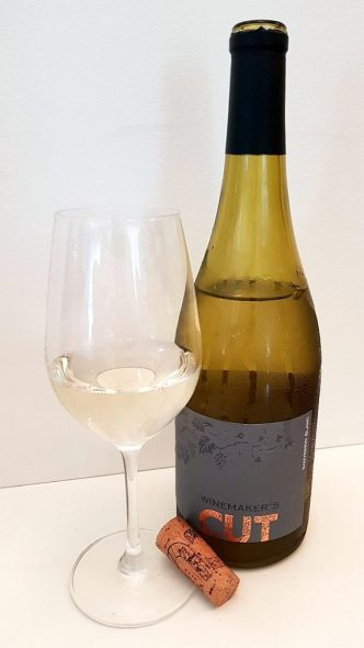 Winemaker's CUT Sauvignon Blanc 2017 with wine in glass