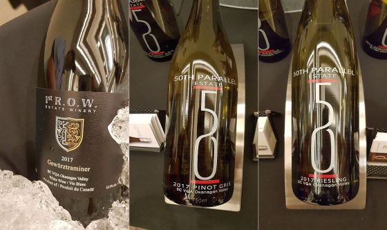 1st R.O.W. Estate Winery Gewurztraminer 50th Parallel Estate Pinot Gris and Riesling 2017