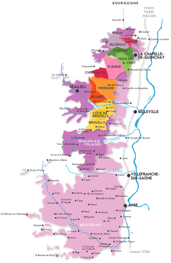 Beaujolais map showing the 10 Cru (Image courtesy https://www.winescholarguild.org/blog/beaujolais-crus-what-makes-each-crus-special-with-map.html)