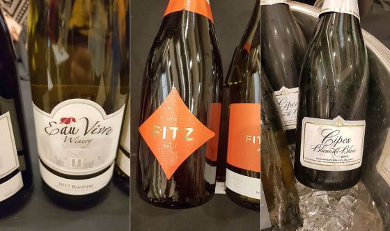 Eau Vivre Winery & Vineyards Riesling 2017, Fitzpatrick Family Vineyards Fitz Brut 2015, and Summerhill Pyramid Winery Cipes Blanc de Blanc 2012