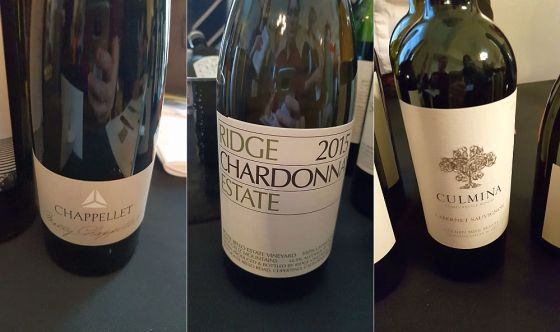 Chappellet Chenin Blanc, Ridge Vineyards Ridge Estate Chardonnay, and Culmina Family Estate Winery Cabernet Sauvignon wines