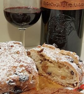 German Stollen from Temper Chocolate & Pastry with Port wine in the background
