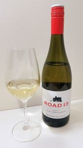 Road 13 Blind Creek Viognier 2017 with wine in the glass