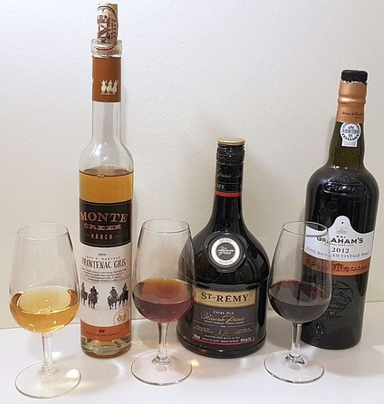 Singletree Winery Late Harvest Frontenac Gris 2014, St. Remy Extra Old Reserve Privee Cognac, and Graham's 2012 Late Bottled Vintage Port