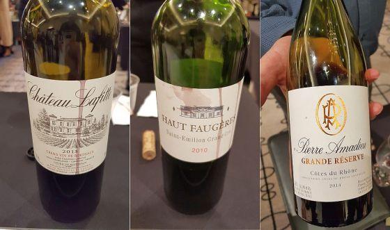 Chateau Lafitte, Cotes de Bordeaux, Haut Faugeres, Saint-Emilion Grand Cru, and Pierre Amadieu Grande Reserve Cotes du Rhone wines