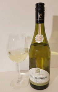 Louis Bernard Cotes du Rhone Blanc 2017 with wine in glass