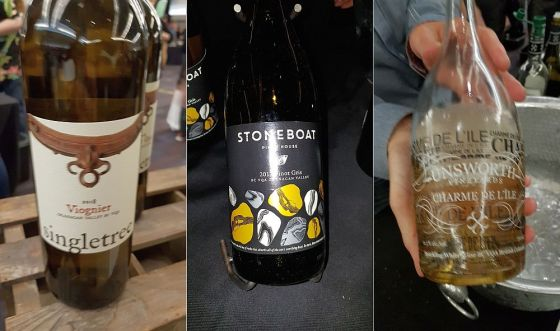 Singletree Winery Viognier 2018, Stoneboat Vineyards Pinot Gris 2018, and Unsworth Vineyards Ltd Charme De L'ile NV wines