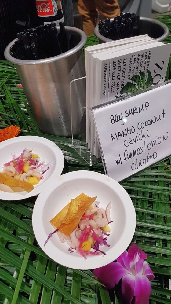 Zocalo bay shrimp ceviche with mango coconut fresnos onion and cilantro served with plantain chips