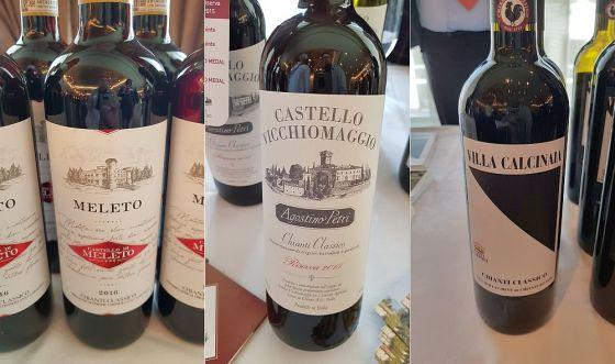 Castello di Meleto Chianti Classico DOCG 2016, Castello Vicchiomaggio Chianti Classico DOCG Riserva Agostino Petri 2015, and Conti Capponi Chianti Classico DOCG Villa Calcinaia 2016