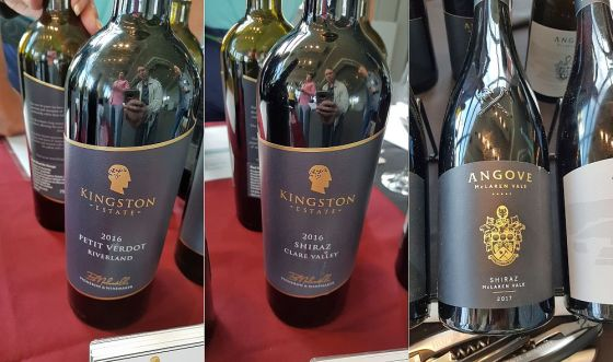 Kingston Wine Estates Riverland Petit Verdot 2016, Kingston Wine Estates Clare Valley Shiraz 2016, and Angove Family Winemakers Family Crest McLaren Vale Shiraz 2017
