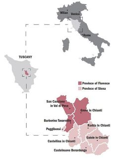 Map showing Chianti Classico DOCG area and the included communes