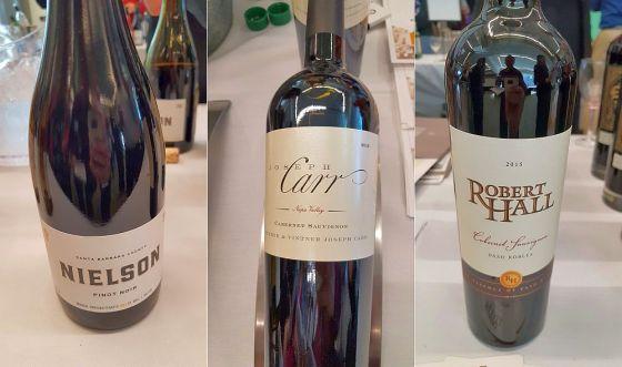 Nielson Santa Barbara Pinot Noir 2016, Josh Cellars Joseph Carr Cabernet Sauvignon 2016, and O'Neill Vintners Robert Hall Cabernet Sauvignon 2015 wines at DISH