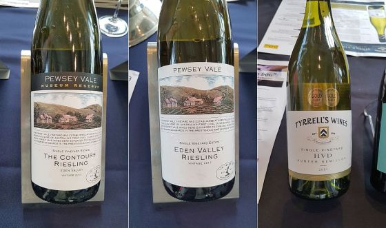 Pewsey Vale Vineyard The Contours Eden Valley Riesling 2012 and Eden Valley Riesling 2017, and Tyrrell's Wines HVD Hunter Valley Victoria Semillon 2013