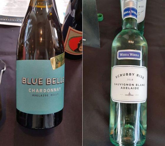 RedHeads Wines Blue Belle Adelaide Hills Australia Chardonnay 2017 and Wirra Wirra Scrubby Rise Adelaide Sauvignon Blanc 2018