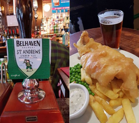 Belhaven Brewery St Andrews Amber ale and my fish and chips. No mushy peas
