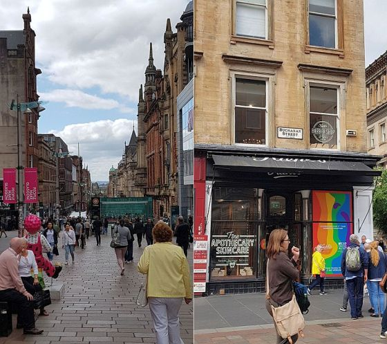 The top of the Buchanan Street walk (you may see Oor Wullie on the left side of this shot) and a typical shop