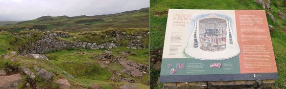Dun Beag Broch remnants and signage