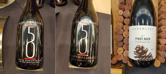 50th Parallel Estate Pinot Noir 2016, 50th Parallel Estate Unparalleled Pinot Noir 2016 and Arrowleaf Cellars Pinot Noir 2017
