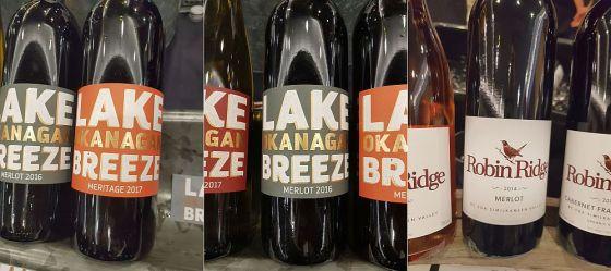 Lake Breeze Vineyards Meritage 2017, Lake Breeze Vineyards Merlot 2017 and Robin Ridge Winery Merlot 2014
