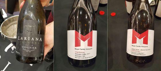 Lariana Cellars Viognier 2018, Meyer Family Vineyards McLean Creek Road Chardonnay 2017, and Meyer Family Vineyards Tribute Series - Joannie Rochette Chardonnay 2017