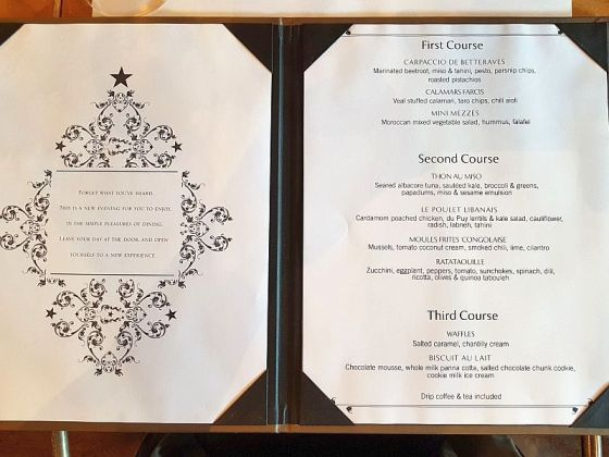 Our Chambar menu choices