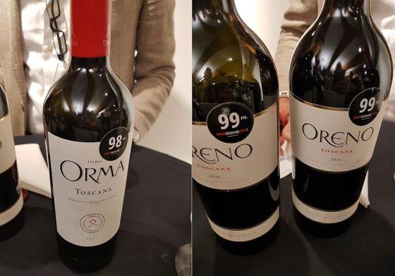 Podere Orma 'Orma' and Tenuta Sette Ponti Oreno wines