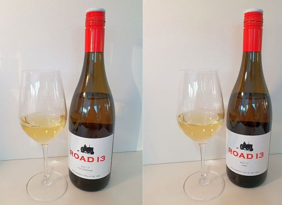 Road 13 Vineyards Roussanne and VRM 2017 with wine in glass