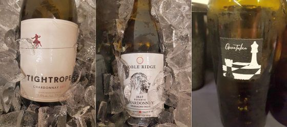 Tightrope Winery Chardonnay 2017, Noble Ridge Winery Reserve Chardonnay 2017, and Checkmate Artisinal Winery Queen Taken Chardonnay 2015