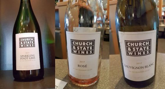 Church & State Wines Sparkling, Rose, and Sauvignon Blanc 2017 wines