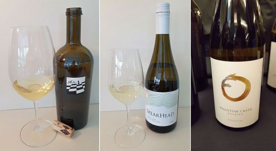 CheckMate Artisanal Winery Little Pawn Chardonnay 2014, SpearHead Winery Pinot Gris 2018, and Phantom Creek Estates Viognier 2017 wines