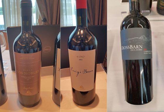 Luigi Bosca Finca Los Nobles Cabernet Bouchet 2013, Luigi Bosca Icono 2011, and Paul Hobbs Winery Crossbarn Napa Valley Cabernet Sauvignon 2015 wines
