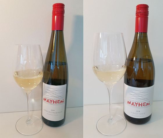 Mayhem Gewurztraminer and Pinot Gris 2018 with wine in glass