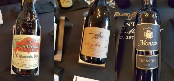 Advini Clos de l'Oratoire Chateauneuf-du-Pape 2017, Domaine du Causse d'Arboras 2016, and Vignobles Alain Brumont Chateau Montus Cuvee Prestige 2001 wines at VanWineFest 2020