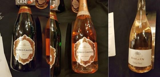 Alfred Gratien Champagne Brut Classique NV, Alfred Gratien Champagne Rose Classique NV, and Chateau Minuty Rose et Or 2018 wines at VanWineFest 2020