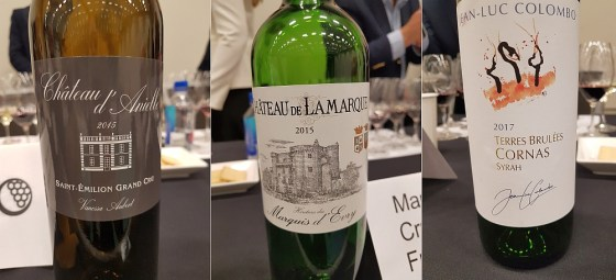 Aubert Vignobles Château d'Anielle Saint-Emilion Grand Cru 2015, Crus et Domaines de France Château de Lamarque 2015, and Jean-Luc Colombo Terres Brulées Cornas 2016 wines at the French Terroir Talk