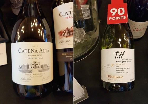 Bodega Catena Zapata Alta Chardonnay 2017 and Vina Undurraga T.H. Sauvignon Blanc 2017 wines at VanWineFest 2020