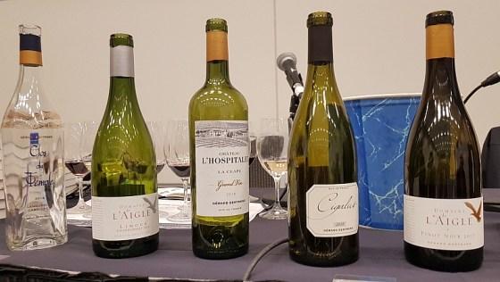 Gérard Bertrand Clos du Temple Rosé 2018, Domaine de L'Aigle Chardonnay 2018, Chateau l'Hospitalet Grand Vin Blanc 2018, Cigalus Blanc 2018, and Domaine de L'Aigle Pinot Noir 2018