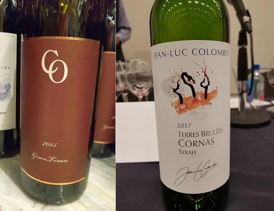 Coronica Wines Gran Teran 2015 and Jean-Luc Colombo Terres Brulées Cornas 2016 at The Global Cru seminar