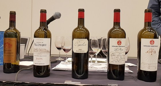 Gérard Bertrand Domaine de Villemajou Rouge 2017, Chateau de Villemajou Grand Vin Rouge 2015, Cigalus Rouge 2017, La Forge 2017, and Clos d'Ora 2016
