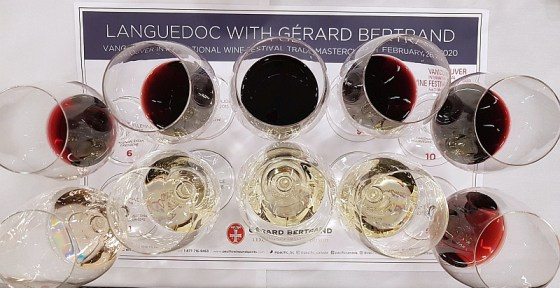 Gérard Bertrand's flight of wines in glasses