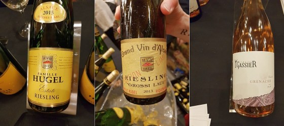 Hugel & Fils Estate Riesling 2015, Hugel & Fils Limited Edition Grossi Laue Riesling 2013, and Domaine Michel Gassier Rose 2018 wines at VanWineFest 2020